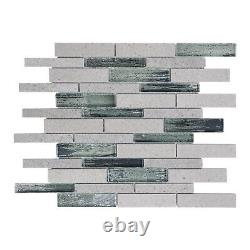 Cinderella Gray Marble Natural Stone Infused Glass Mosaic Tile Wall Backsplash