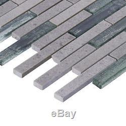 Cinderella Gray Marble Stone Metallic Glass Mosaic Tile Kitchen Wall Backsplash