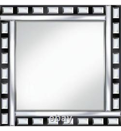 Classic Tile Mirror Black/Silver Square Wall mirror 60cm x 60cm Beveled