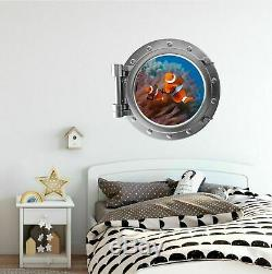 Clownfish Porthole 3D Window Wall Decal Finding Nemo Room Vinyl Port Scape 7152