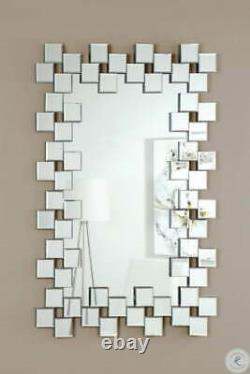 Coaster Frameless Hanging Wall Mirror With Staggered Tiles Silver 901838