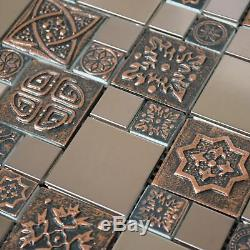 Copper Metal Pattern Textured Mosaic Tile Glass Kitchen Backsplash Wall Decor US