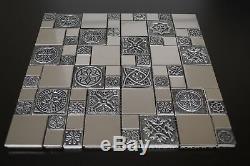 Copper Metal Pattern Textured Mosaic Tile Glass Kitchen Backsplash Wall Decor US