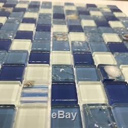 Coralino Blue Full Body Glass Backsplash/mosaic/wall Tile. Bathroom. Kitchen