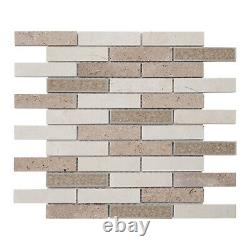 Crackle Glass Crema Marfil Marble Stone Beige Sand Mosaic Tile Wall Backsplash