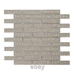 Cream Beige Crackle Glass Brick Joint Mosaic Tile Kitchen Bath Wall Backsplash