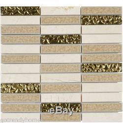 Cream Beige Crema Marfil Marble Stone Glass Mosaic Tile Kitchen Wall Backsplash