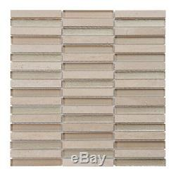 Crema Marfil Beige Cream Stone Marble Glass Stacked Mosaic Tile Wall Backsplash
