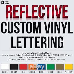 Custom Reflective Vinyl Lettering Decal Sticker Car Van Truck Trailer Window +