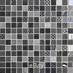 Daltile UP11MSP Uptown Glass 1 x 1 Square Mosaic Wall Tile - Grey