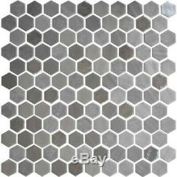 Daltile UP1HEXMSP Uptown Glass 1 x 1 Hexagon Mosaic Wall Tile Frost Moka