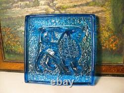 Danish Sun Catcher Zodiac Glass Plaque/ Wall Tile Attributed to Holmegaard 1960s