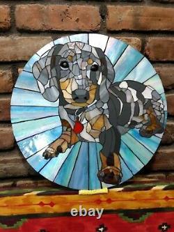 Dapple DACHSHUND 14.5 Stained Glass Mosaic Tile Handmade Wall Art Dog Round