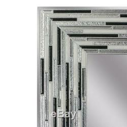 Deco Wall Mirror 30 in. L x 24 in. W Reeded Charcoal Simulated Tiles Frameless