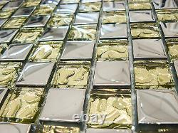 Dior Gold Glass Square Mosaic Tiles Sheet For Walls Floors Kitchen Bathroom