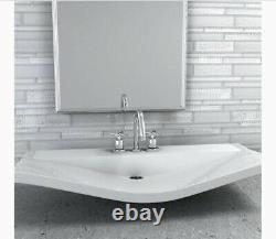 ELIDA CERAMICA White Glossy Glass 12 x 12 Linear Mosaic Wall Tile, 24 Ct, NEW