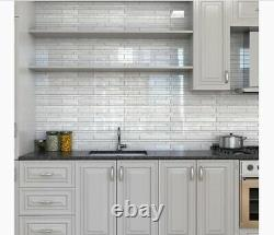 ELIDA CERAMICA White Glossy Glass 12 x 12 Linear Mosaic Wall Tile, 48 Ct, NEW