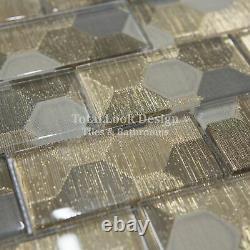 Elegance Gold Glass Rectangle Mosaic Tiles Walls Floors Bathrooms Kitchens