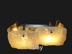 Elegant Kalmar Wall Light, 2 Ice- Glass Tiles, Chrome, Mid Century