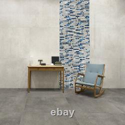 Emerald Blue Glass & Marble Mosaic Tiles Sheet For Walls Floors Bathroom Kitchen
