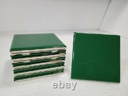 Emerald Green Ceramic Tile 4x4 4.25 in Subway Square Vintage Mid Century Modern
