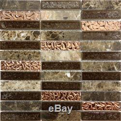 Emperador Marble Blend Metallic Copper Glass Crackle Mosaic Tile Wall Backsplash