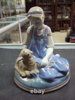 Fairy tale characters russian girl Gzhel Vintage USSR porcelain figurine 8894u