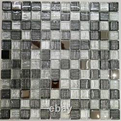 Fashion Glitter Mix Squares Mosaic Tiles Sheet for Walls Floors Bathroom Kitchen