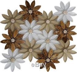 Flower Brown Marble Mosaic Tile Tan White Glass Wall Tiles Bath Back Splash Bar