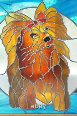 Framed Stained Glass Mosaic Tile Yorkshire Terrier Dog Handmade Wall Art 15x17