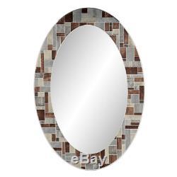 Frameless Oval Tile Wall Mirror Vanity Hanging Modern Mount Bathroom Decor New