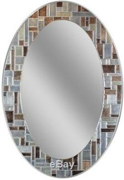 Frameless Wall Mirror Oval Tile Decorative Border 31 x 21 in Home Bathroom Decor