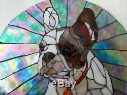 French Bulldog 14.5 Round Stained Glass Mosaic Tile Handmade Wall Art Frenchie