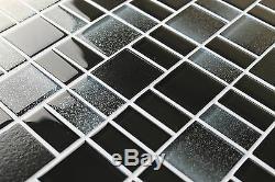 Fusion Black Glass Mosaic Tiles Backsplash/Bathroom Tile Squares/Rectangles