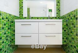 Fusion Green Glass Mosaic Tiles Backsplash/Bathroom Tile Squares/Rectangles