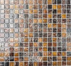 GOLD/BROWN/COPPER Effect Square Mosaic tile GLASS golden silk 54-1306 10sheet