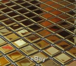 GOLD Mosaic tile GLASS Square Wall 60-0706 100 sheet incl freight to UK