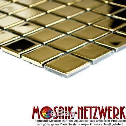 GOLD Mosaic tile GLASS Square Wall BATHROOM Splashback 60-0706 10 sheet