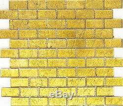 GOLD Translucent Mosaic tile GLASS Brick WALL Bath Splashback-120-0784 10 sheet