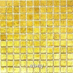 GOLD Translucent Mosaic tile GLASS WALL Bath&Kitchen Splashback-120-074210sheet