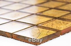 GOLD Translucent Mosaic tile GLASS WALL Bath&Kitchen Splashback 120-078610sheet