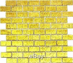 GOLD Translucent Mosaic tile GLASS WALL Brick Bath Splashback-120-0744 10 sheet