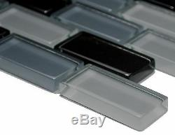 GRAY/BLACK BRICK 3D Mosaic clear tile GLASS WALL Bath&Kitchen -76-0208 10 sheet