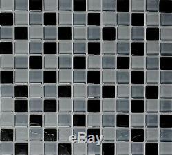 GRAY/BLACK MIX CLEAR 3D Mosaic tile GLASS Square WALL Bath 72-0208 10 sheet