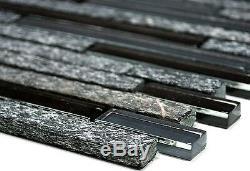 GRAY/BLACK Translucent Mosaic tile BRICK GLASS/STONE Wall Bath 86-020810sheet