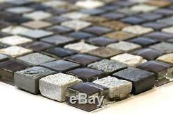 GRAY/BROWN MIX Mosaic tile GLASS/STONE Wall Bathroom 92-0209 10 sheet