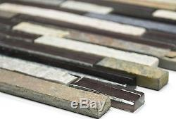 GRAY/BROWN Translucent Mosaic tile BRICK GLASS/STONE Wall Bath 86-020610sheet
