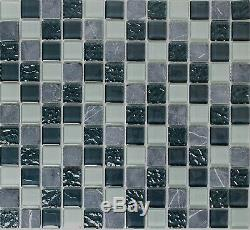 GRAY MIX Mosaic tile GLASS&NATURAL STONE clear&frosted Mix WALL-82-0204 10sheet