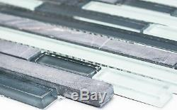 GRAY/WHITE MIX Mosaic tile GLASS/STONE BRICK WALL Bath&Kitchen 86-0204 10 sheet