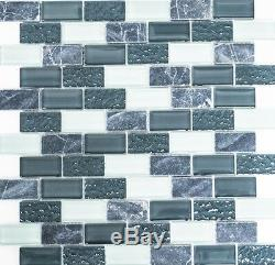 GRAY/WHITE MIX Mosaic tile GLASS/STONE BRICK WALL Kitchen&Bath 83-020410sheet
